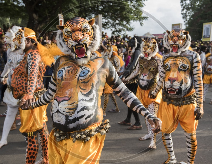 Pulikali (Play of the Tigers), A 200 year old folk art parade performed on Onam.