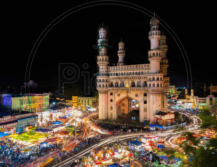 Light trails of Charminar during the night