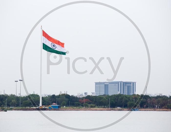 Indian National Flag in Hussain Sagar