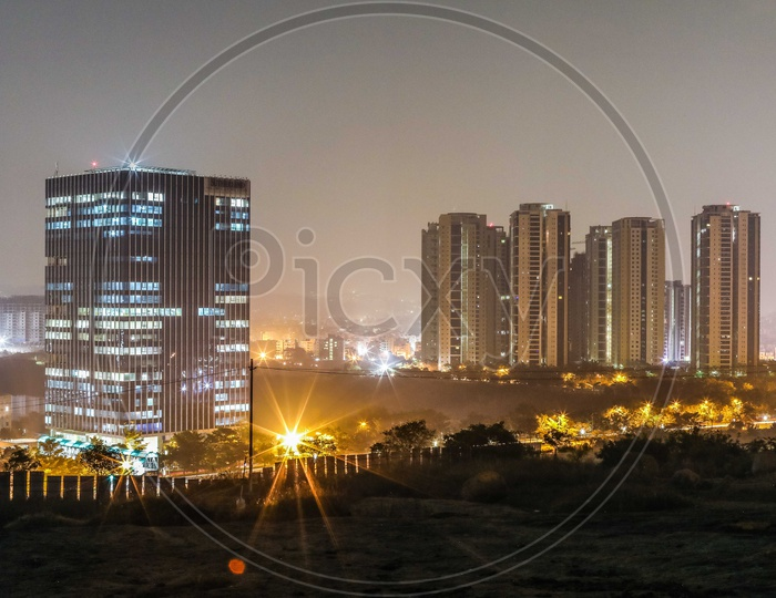 Long Exposure Shot of High Rise Buildings  In Hyderabad City