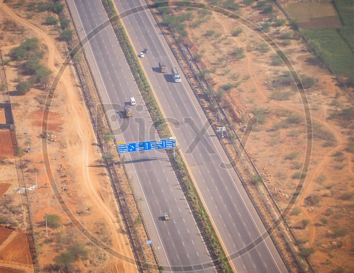 Aerial view of Highway or Expressway with Vehicles on Road