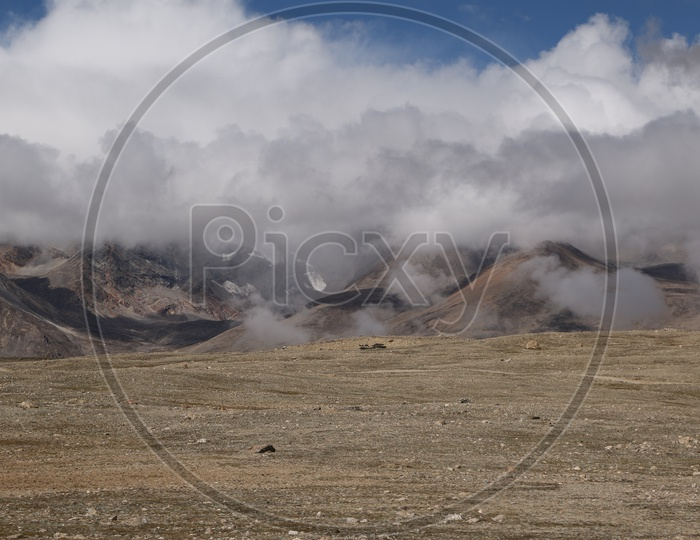 Landscape of beautiful Mountains of Sikkim with huge clouds