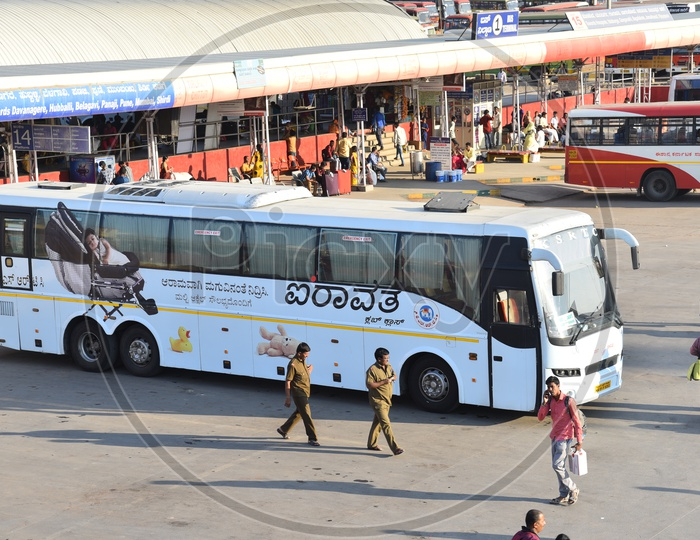 Airavat club class bus at bus terminal 1 in Majestic bus station, Bangalore