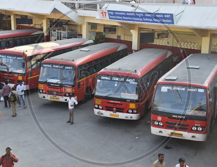 NEKRTC buses at platform 17 in Kempegowda bus station, Bangalore