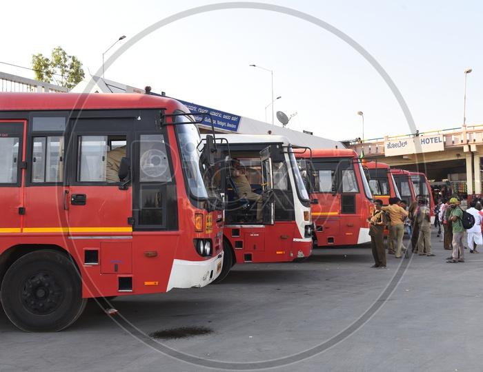 NEKRTC buses in Majestic bus station, Bangalore