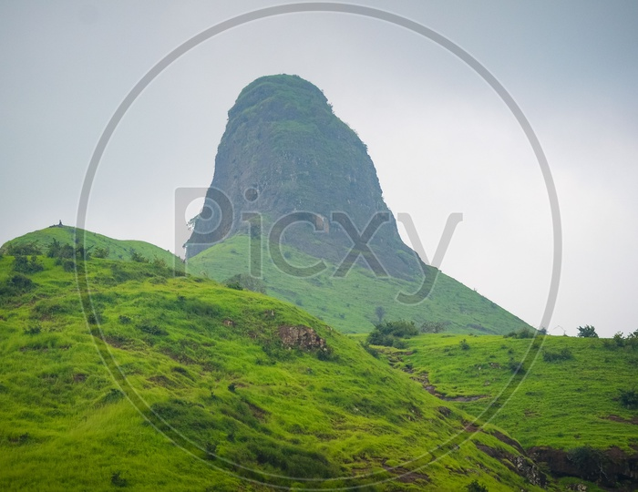 Green Plateaus Of Western Ghats With Hill Tops