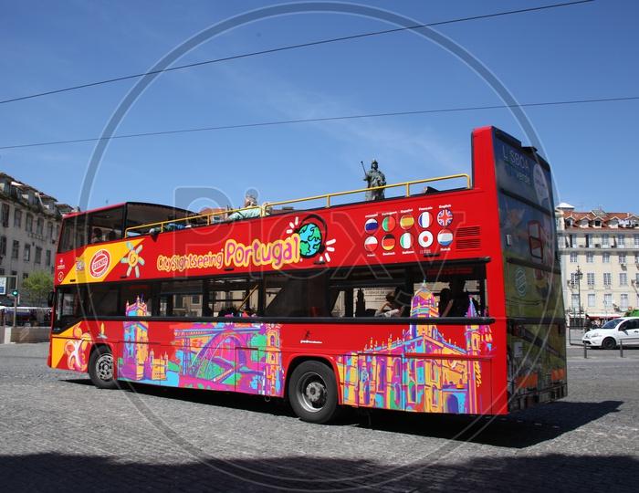 Double decker tourist bus in Lisbon