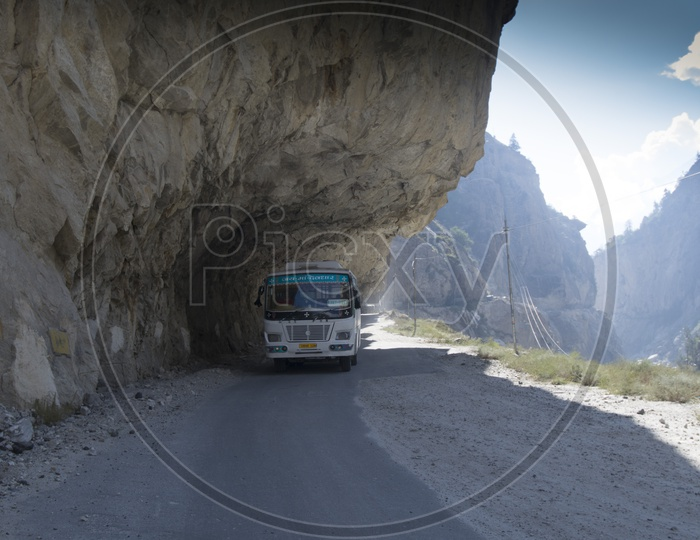 Himachal Pradesh State Road Transport Buses On the Ghat Roads Of Ladakh