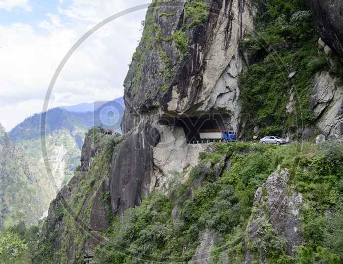 The natural tunnel in the Shimla to Tabo national highway