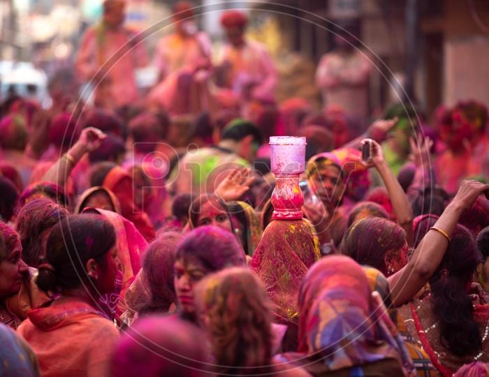 Marwari or Marwadi women celebrate Holi in Hyderabad on 21st March 2019
