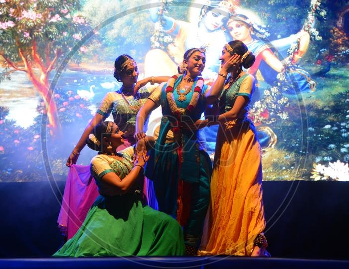 Artists In Sri Krishna Attire  Performing Dance On Stage
