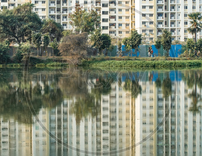 Mantri Celestia high rise apartments and its reflection on the wipro lake