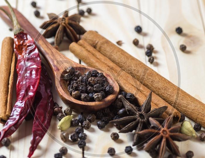 Cinnamon stick, Dried Red Chili, Star Anise, Elachi, Black Pepper