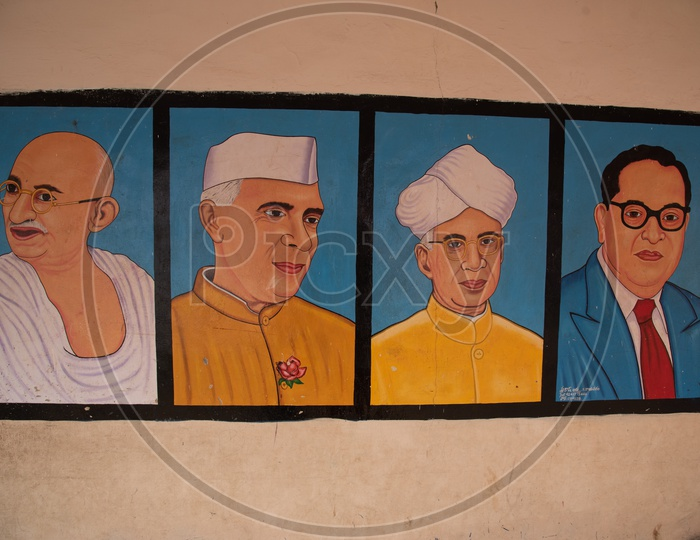 Sketches of national leaders and freedom fighters of India
