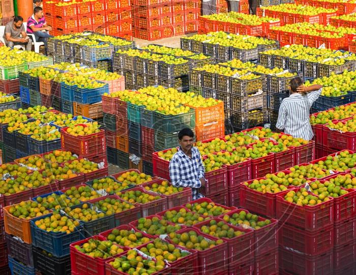 Vendor at Kothapet Fruit Market, Hyderabad