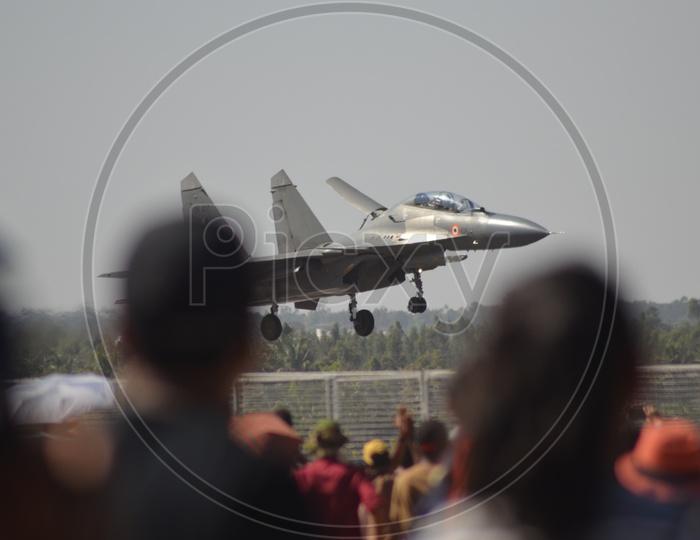 Indian Air Force Sukhoi Su-30MKI Aircraft at Bangalore Aero India Show 2019