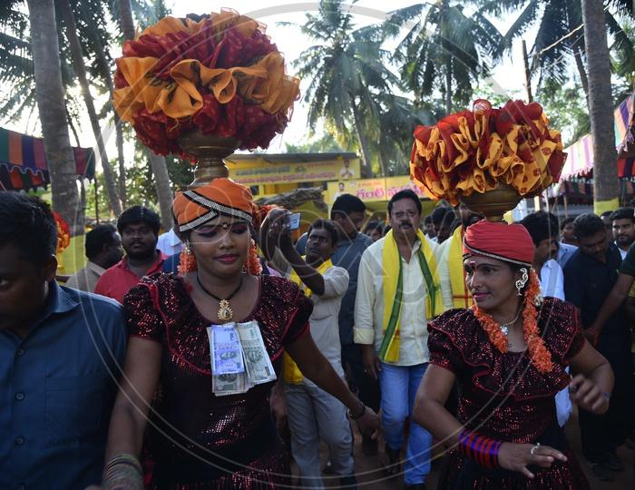 Garaga folk dance being performed ahead of TDP election campaign rally in Amalapuram