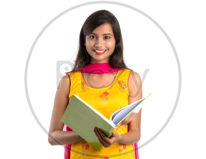 Beautiful Indian College Going Girl With a Book  in Hand