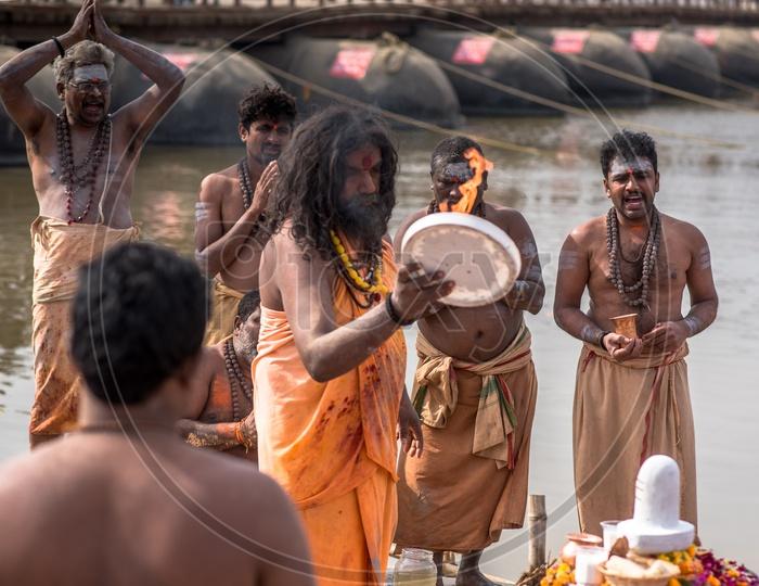 Indian Naga Sadhus Or Babas Or Aghoras  at Kumbh Mela