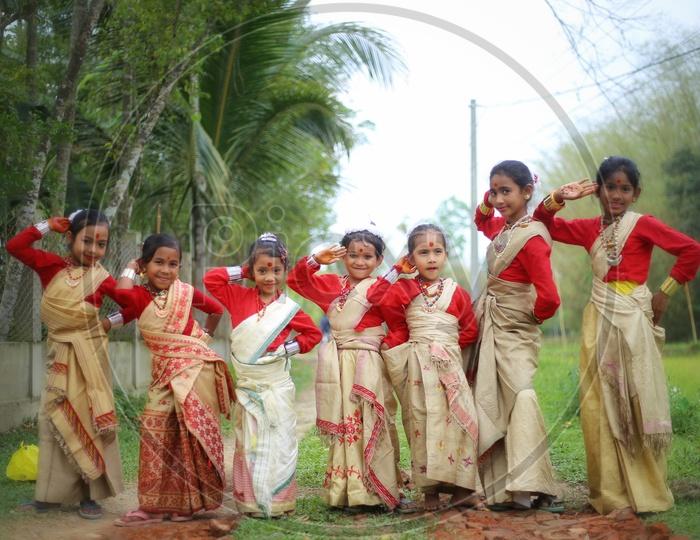 Girls dancing Bihu in Assam.