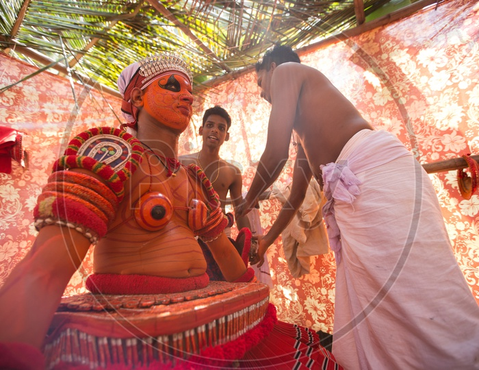 Theyyam Artists In Makeup For Performance , A  Ritualistic Dance Art Form  in Kerala