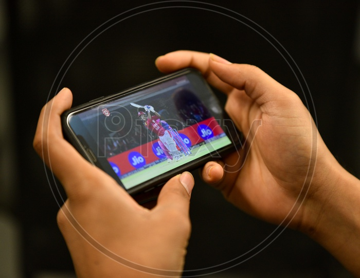 Indian user watching IPL match on Hotstar app in Mobile
