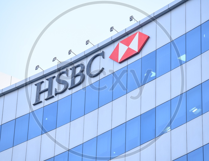HSBC  , Name Board On Corporate Building
