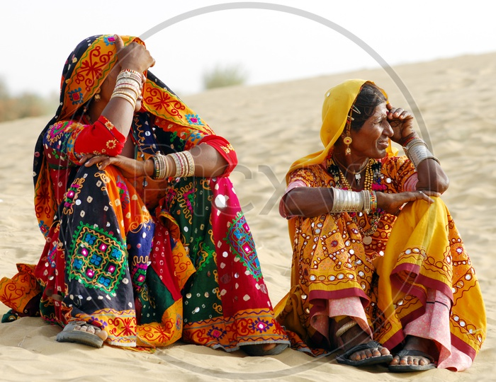 Tribal women dressed up in traditional Rajasthani costume