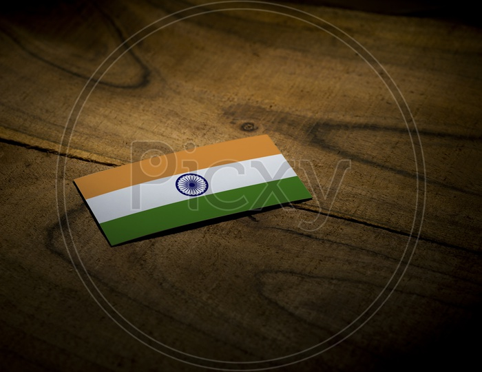 Indian  National Flag On an Wooden Background