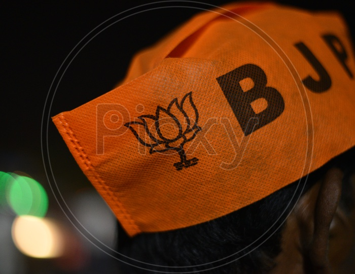 BJP Party  Supporters Wearing  Party Caps  In Election Campaign for Lok Sabha Election 2019