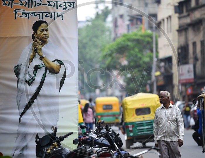 BJP Party Flags  Tagged On the Streets as A  Part Of Election Campaign in west Bengal