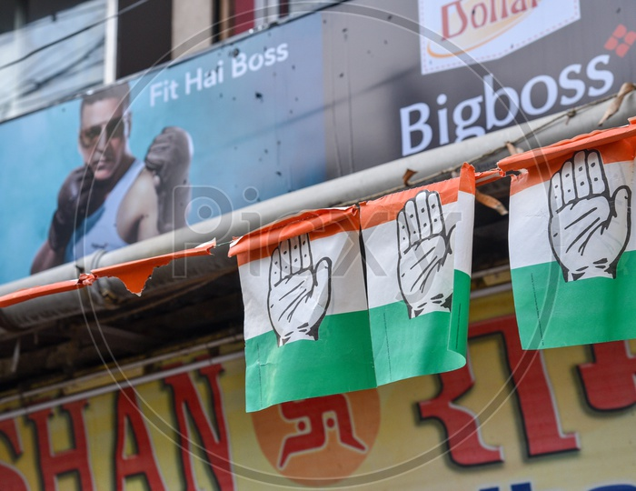 Congress Party  Flags Tagged On the Streets Of  Kolkata As a Part Of Election Campaign