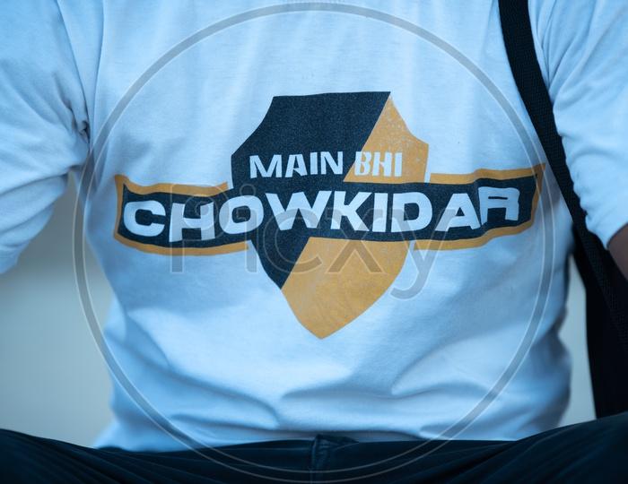 Modi Supporters Wearing Main Bhi Chowkidar  T-Shirts in Varanasi During Election Campaign of BJP