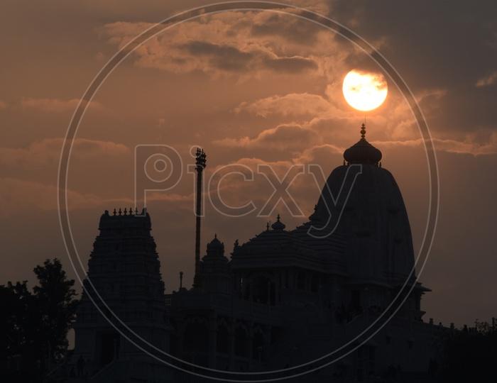 Silhouette Of Birla Mandir  temple Shrine  Over a Sunset Background