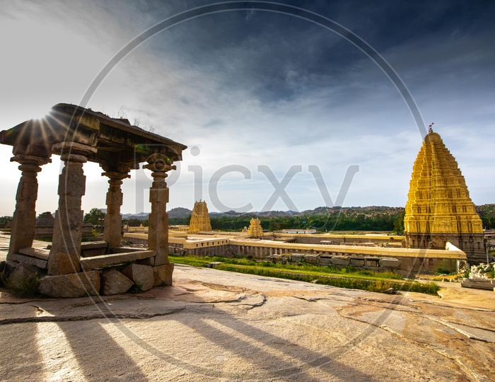 Historical Architecture Of Hampi  With Ancient Hindu Temple Shrines