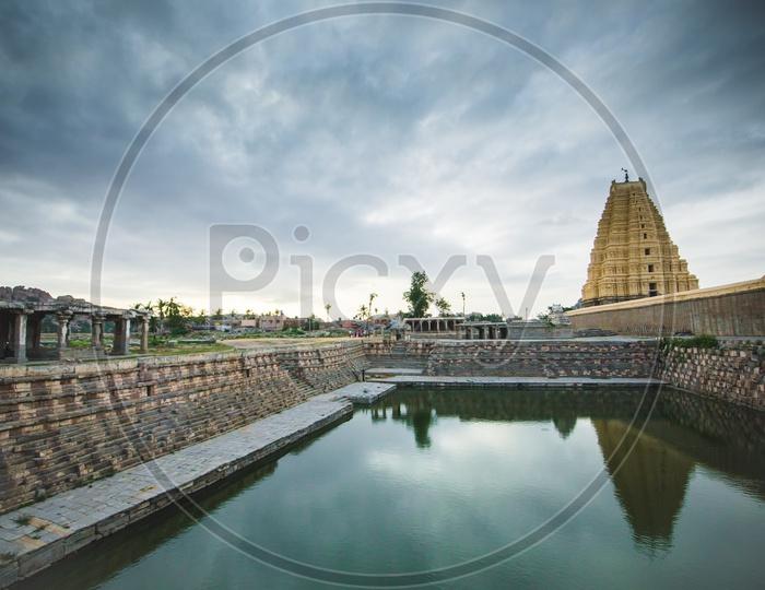 Temple Pool Or Temple Tank At  The Ancient Virupaksha Temple in Hampi
