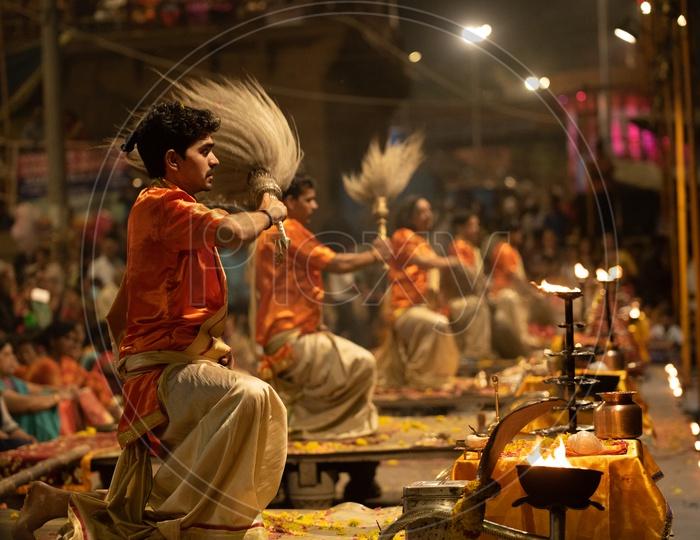 Priests Performing Ganga Aarti Or Ganga Haarati   For Sacred River Ganga  in Varanasi
