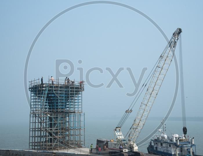 Pillars Of Under Construction  Marine Drive  over River Ganga  in Patna