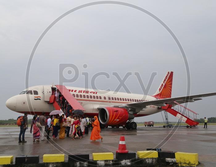 Air India flight at Guwahati airport