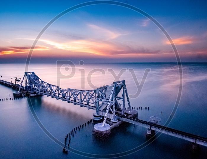 A Beautiful View of Pamban Bridge  With Bluehour Sky