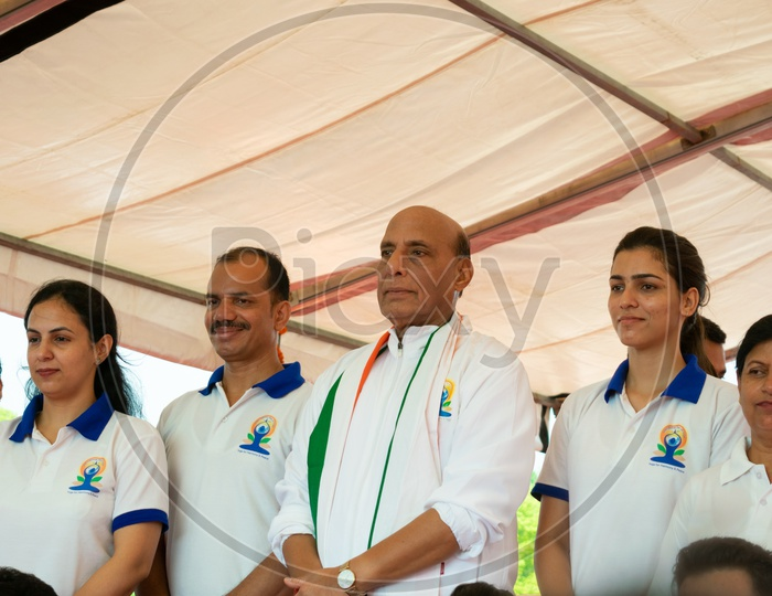Rajnath Singh( Defence Minister of India) with Others during International Day of Yoga 2019 at Rajpath, Delhi
