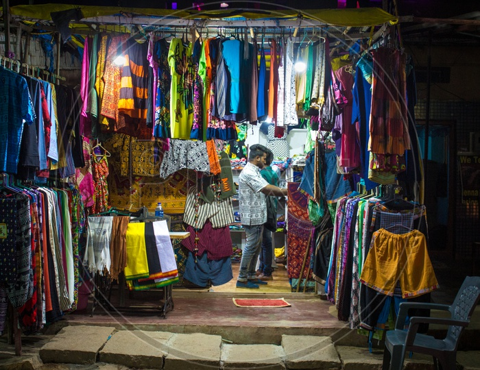 Clothes shop during the night at Hampi