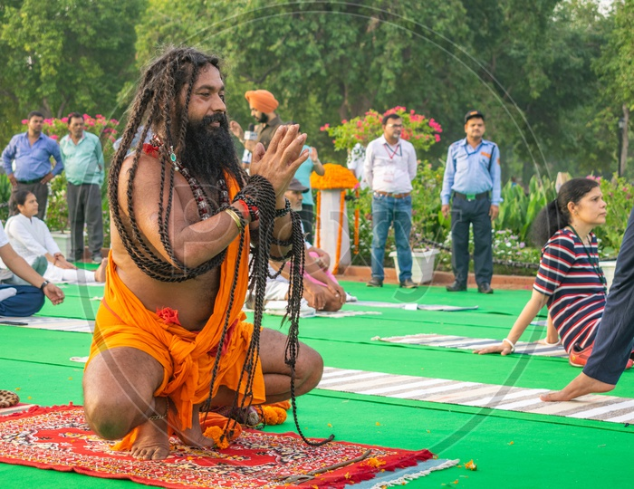 A sadhu(Baba) on the fifth International Yoga Day at Rajpath, Delhi