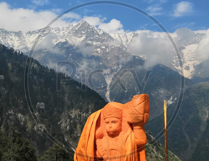 Lord Hanuman and Snow Capped Mountains