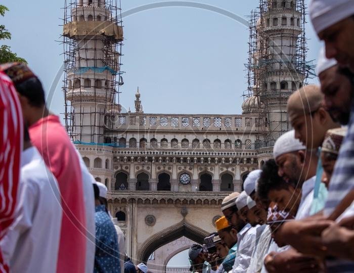 Muslims  Offering Prayer Or Namaz As a Group  At Mecca Masjid  Or Mosque  Near Charminar During The Alvida Jumma  , The Last Friday Prayer In Ramzan or Ramadan Season