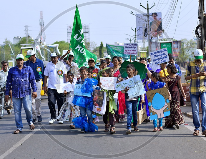School kids doing protest on Environmental day.