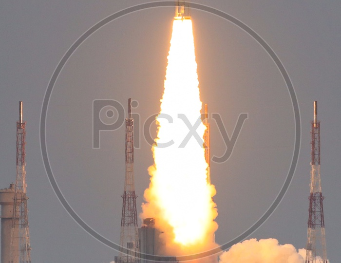 GSLV- Mk III - M1 or Chandrayaan -2 Launch Vehicle Taking Off From Launch Pad In Sriharikota