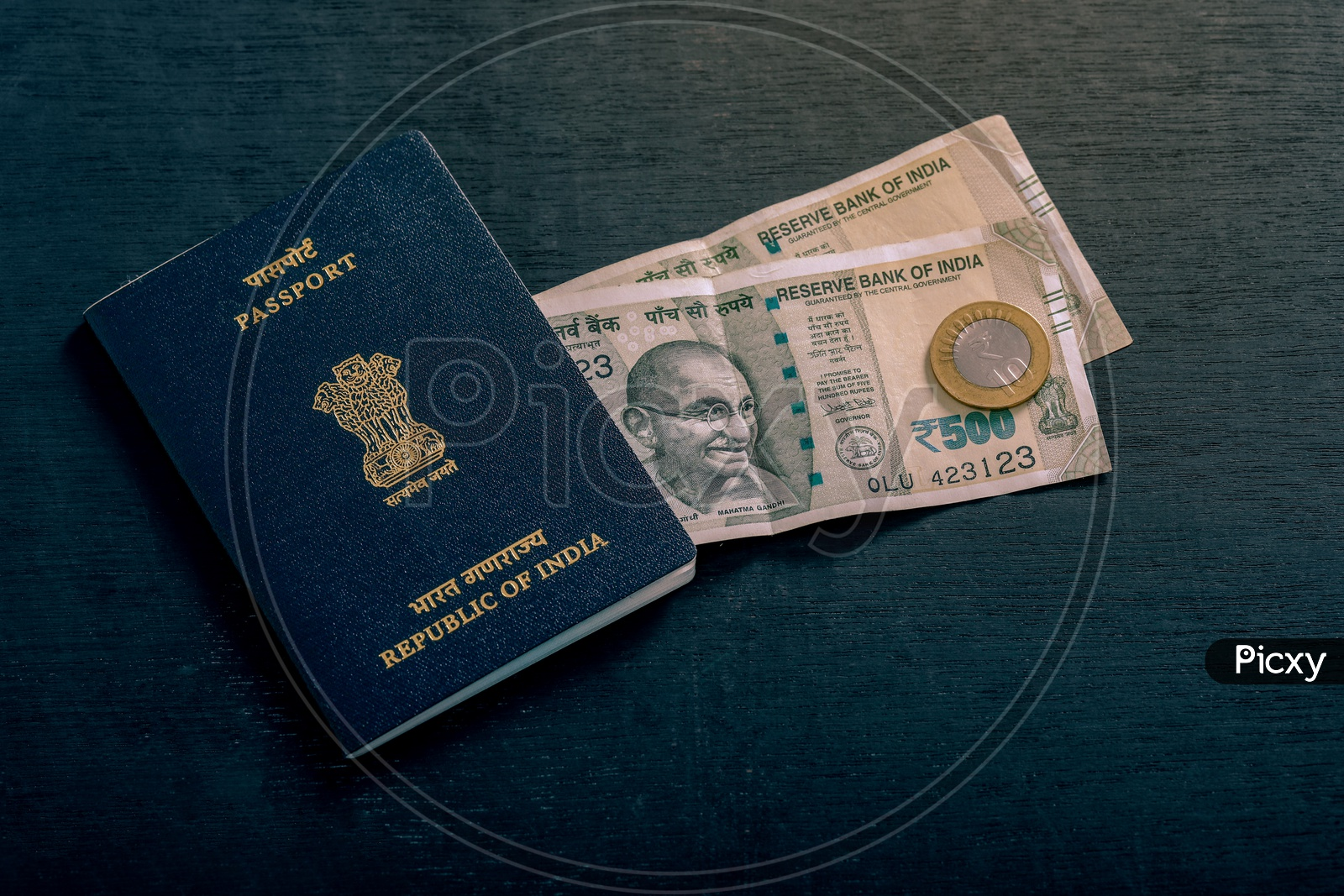 Indian Passport With Indian Currency   ,  Travel Concept