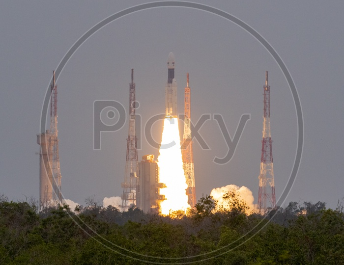 GSLV Mk III  M1  Or Chandrayaan 2  Spacecraft or Rocket  Takeoff From Launch pad  At Satish Dhawan Space Centre  SHAR In Sriharikota