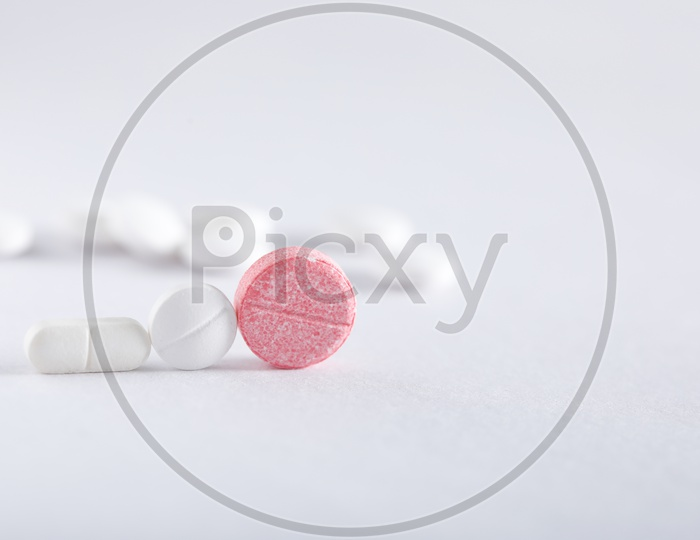 Medicinal Tablets  On an Isolated White Background   Pharmacy Pharmaceuticals   Concept